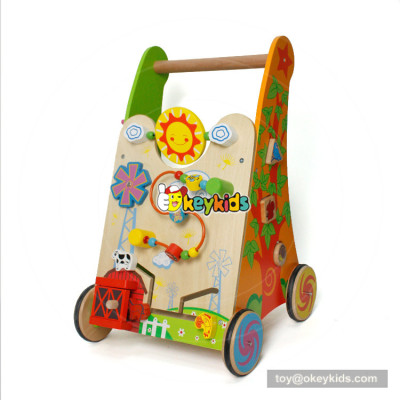 okeykids new hottest push along wooden activity walker for baby W16E084