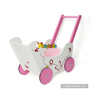 okeykids new design lovely pink wooden doll stroller for baby push along W16E085