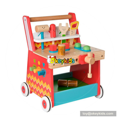 okeykids new hottest push along wooden first steps baby walker with tool toys W16E087