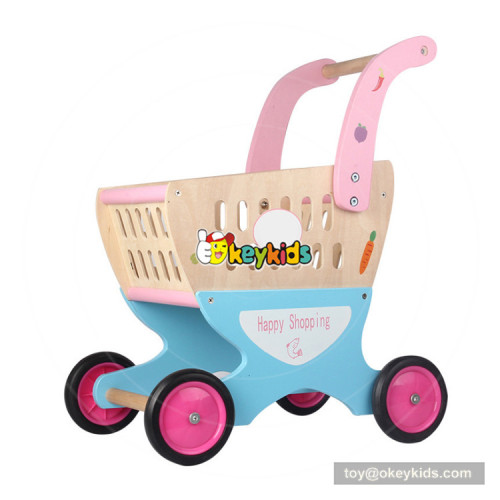okeykids new hottest  pretend play wooden baby shopping cart toy with food W16E088