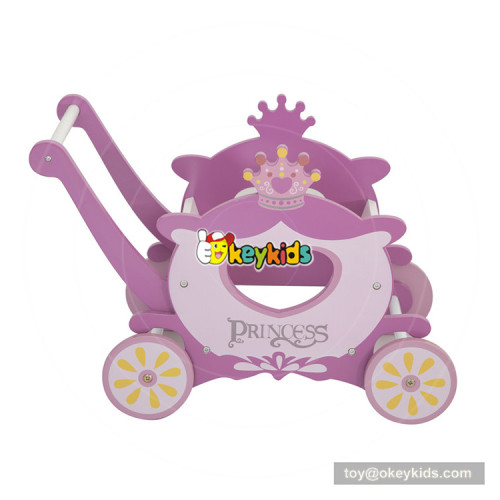 2018 New design princess style wooden baby stand up walker for girls W16E098