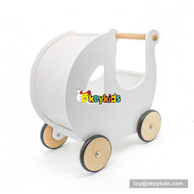 2018 New design baby walking aid wooden push walker in white W16E100