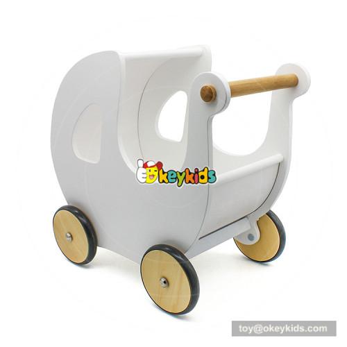 2018 New design baby walking aid wooden push walker in white W16E100