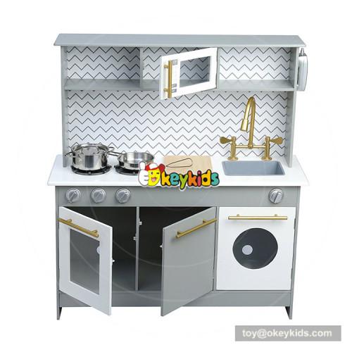 Okeykids preschool wooden kids pretend kitchen with cooking kit W10C358