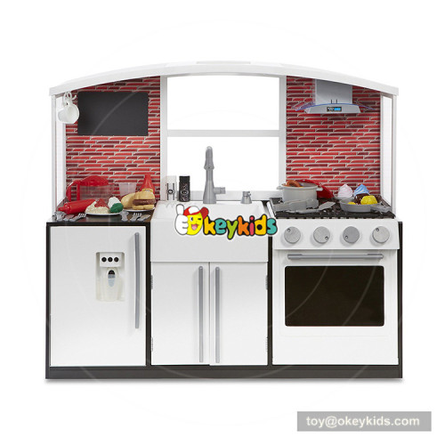 Okeykids espresso big wooden kids toy kitchen for playing and learning W10C360