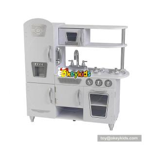Okeykids children big wooden white toy kitchen with refrigerator W10C362