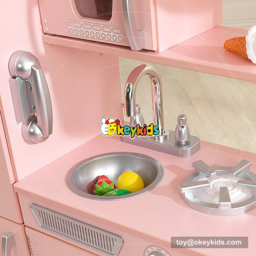 Okeykids pink wooden large play kitchen for kids W10C363