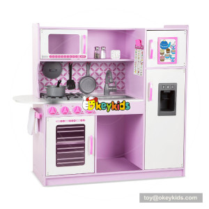 Okeykids  pink wooden kitchen set toy for toddlers EQ training W10C364