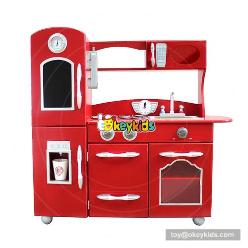 Okeykids new style children big wooden red toy kitchen for pretend play W10C365