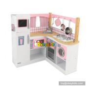 Okeykids new hottest pink wooden corner kitchen toy for kids W10C367