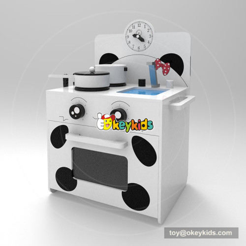 Okeykids original design cartoon wooden small play kitchen for kids W10C380