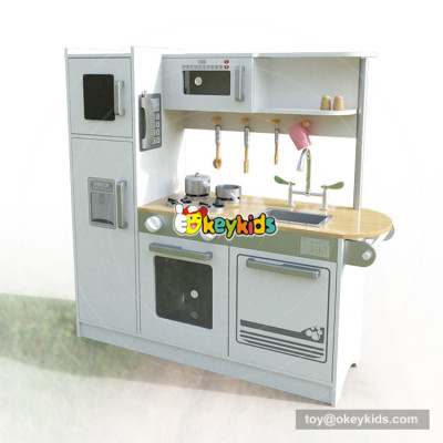 Okeykid new original design children white wooden toy kitchen with sounds W10C382