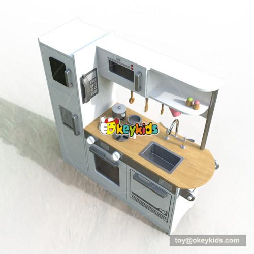 Okeykid new original design children white wooden toy kitchen with sounds W10C382