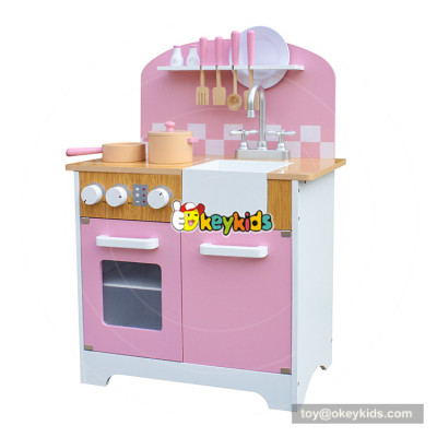 Okeykid new arrival elegant pink wooden girls kitchen set for pretend play W10C385