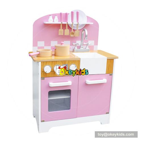 Okeykid new arrival elegant pink wooden girls kitchen set for pretend play W10C385