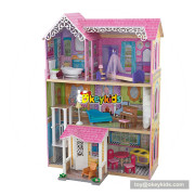 Okeykids wooden doll house toy with furniture for kids W06A263