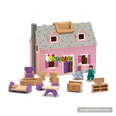 Okeykids fashion wooden doll house toy  for kids W06A264