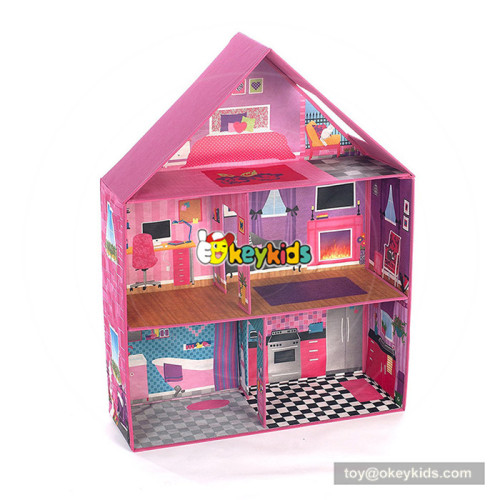Okeykids wooden 3-story doll house toy for kids W06A266