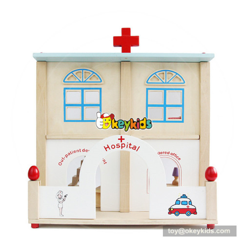 Okeykids wooden hospital toy set for kids includes dolls and furniture W06A285