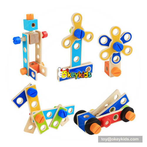 hottest diy assemble robot blocks toy wooden tools bench toy for kids' hand skill training W03D091