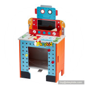 Wholesale robot shape tool platform wooden educational toys for kids W03D093