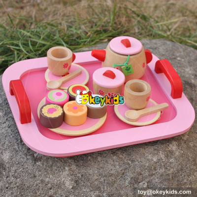 new design pink children wooden tea set toy W10B181