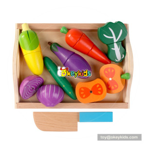 Best gift funny pretend toy wooden cutting vegetables toy for baby W10B200