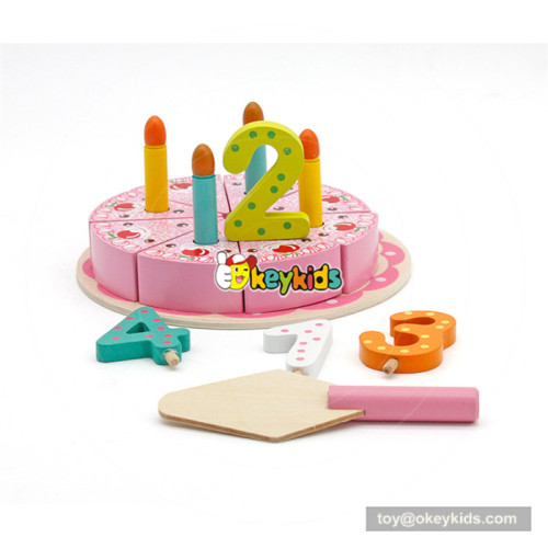 Wholesale beautiful wooden cutting birthday cake toy with digital candles for baby's EQ develop W10B202