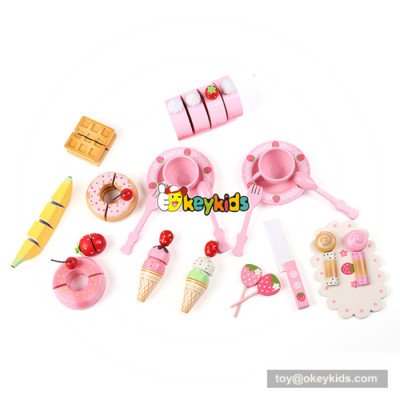 Wonderful wooden pretend afternoon tea set toy cutting dessert toy for baby W10B208