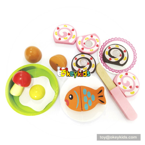 Interesting pretend toy breakfast theme wooden food cutting toy for kids W10B209