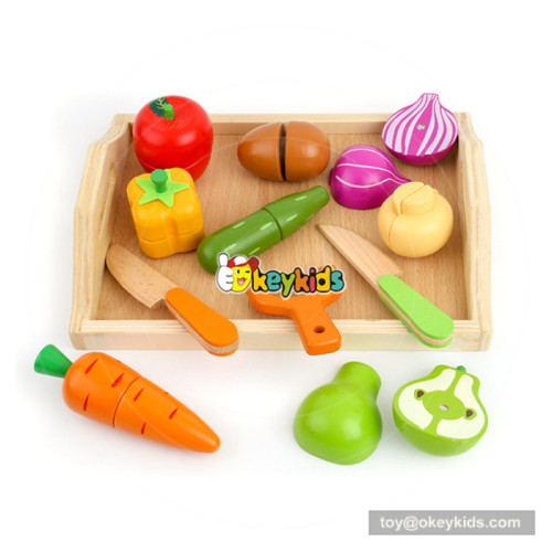 early hand training toy pretend food wooden vegetables cutting toy for baby W10B212