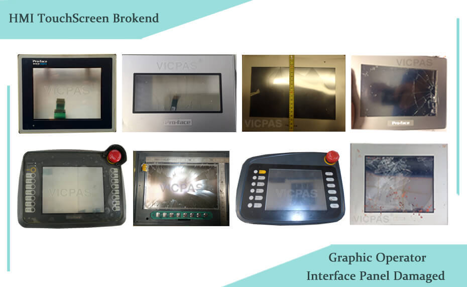 Proface HMI Touch screen panel broken and Graphic Operator Interface Panel damaged www.vicpas.com