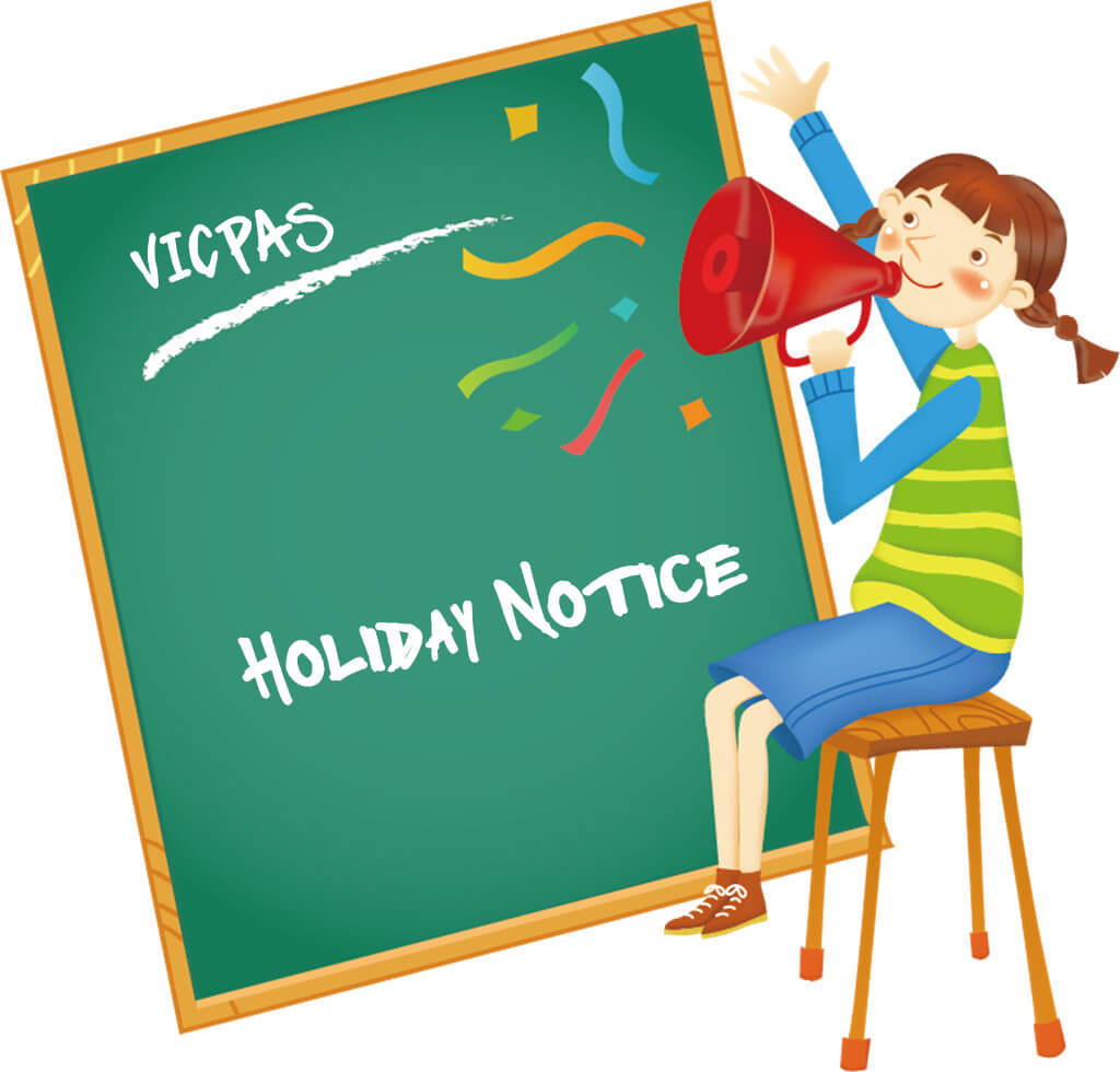 VICPAS HMI touchscreen 2018 Holiday Notice