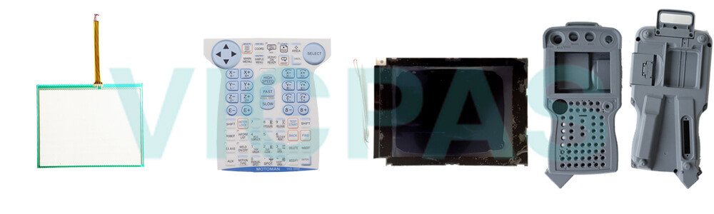Motoman YASKAWA JZRCR-YPP21-1 Teach Pendant Parts, touchscreen, membrane keypad, LCD display, and protective case shell for repair replacement