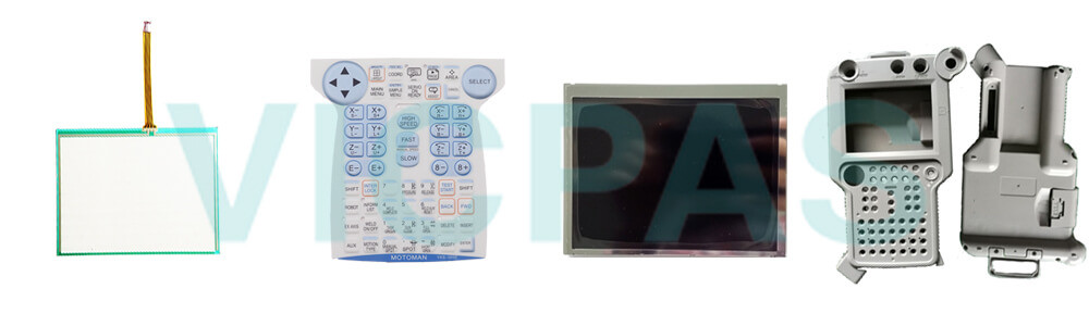 Motoman YASKAWA JZRCR-YPP01-1 Teach Pendant Parts, touchscreen, membrane keypad, LCD display, and protective case shell for repair replacement