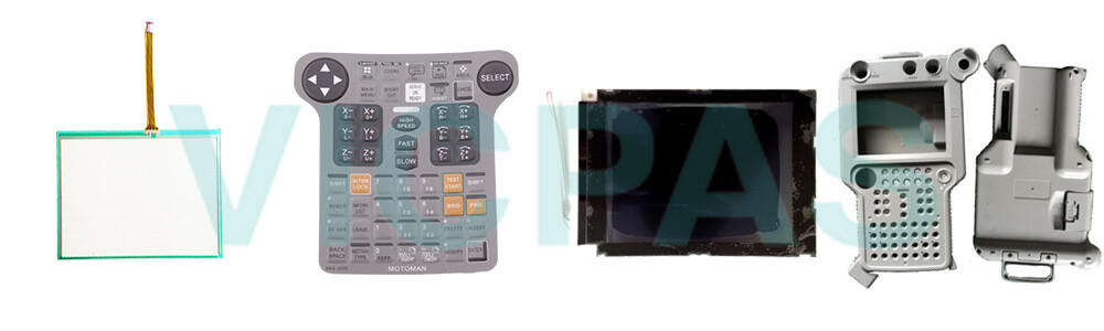 Motoman YASKAWA JZRCR-YPP03-1 Teach Pendant Parts, touchscreen, membrane keypad, LCD display, and protective case shell for repair replacement