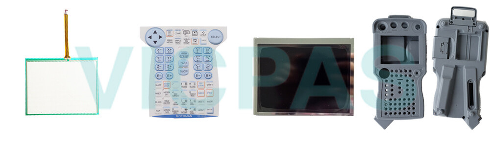 Motoman YASKAWA JZRCR-YPP11-1 Teach Pendant Parts, touchscreen, membrane keypad, LCD display, and protective case shell for repair replacement