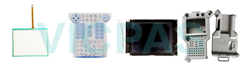Motoman YASKAWA JZRCR-YPP07-1 Teach Pendant Parts, touchscreen, membrane keypad, LCD display, and protective case shell for repair replacement