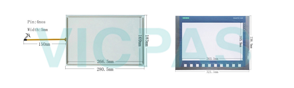 6AG1123-2MA03-2AX0 Siemens SIPLUS HMI KTP1200 Basic DP Touchscreen Panel Glass, Overlay and LCD Display Repair Replacement