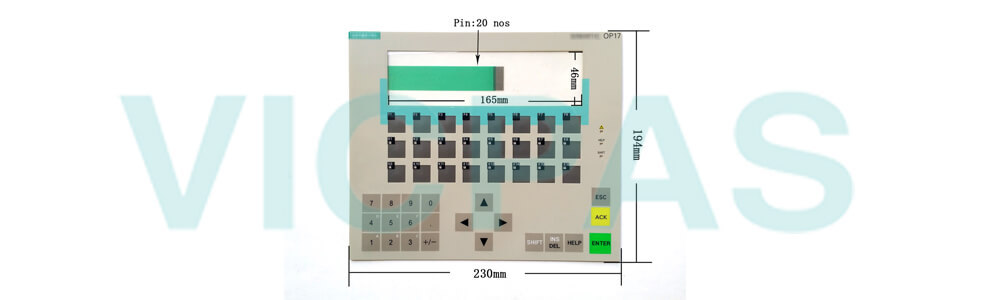 6AV3617-1JC30-0AX2 Siemens SIMATIC HMI OP17 OP 17 OPERATOR PANEL Membrane Keyboard and Plastic Case Shell Repair Replacement
