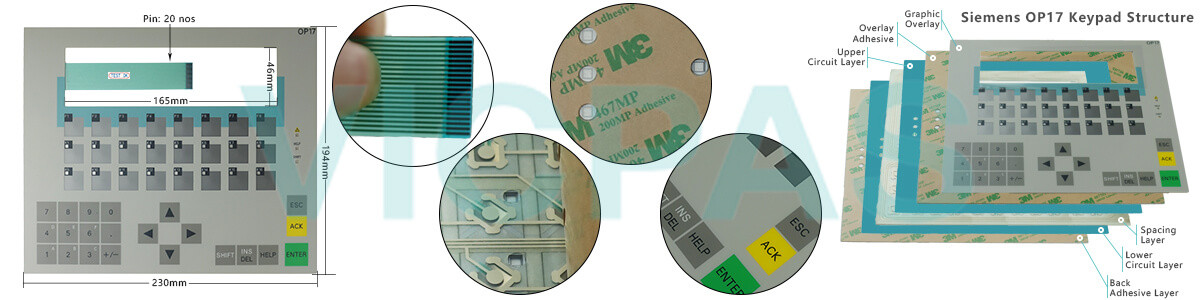 6AV3617-1JC00-0AX2 Siemens SIMATIC HMI OP17 OP 17 OPERATOR PANEL Membrane Keyboard and Plastic Case Shell Repair Replacement