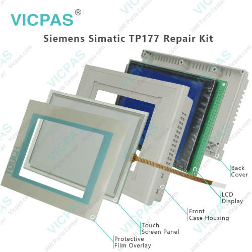 for Siemens Simatic TP177 A B Touch Screen Glass and Protect Film Replacement