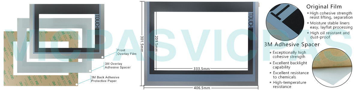 6AG1124-0QC02-4AX0 Siemens SIMATIC HMI TP1500 Comfort Touchscreen Glass, Overlay and LCD Display Repair Replacement