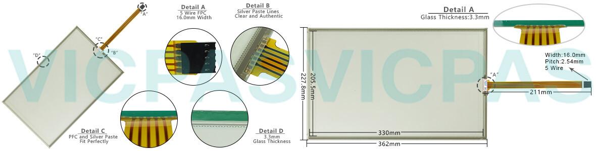 6AV2124-0QC02-0AX0 Siemens SIMATIC HMI TP1500 Comfort touchscreen Glass, Overlay and LCD Display Repair Replacement