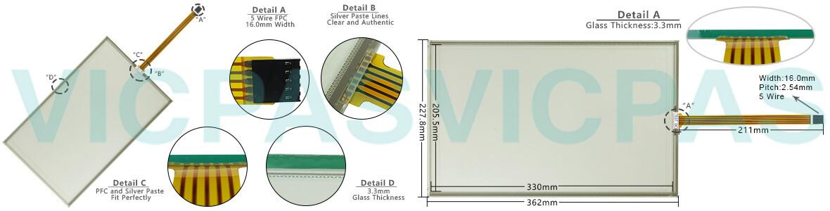 6AV2124-0QC02-0AX1 Siemens SIMATIC HMI TP1500 Comfort touchscreen Glass, Overlay and LCD Display Repair Replacement