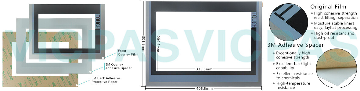 Siemens SIMATIC HMI TP1500 BASIC COLOR PN touchscreen, Overlay and LCD Display Repair Replacement
