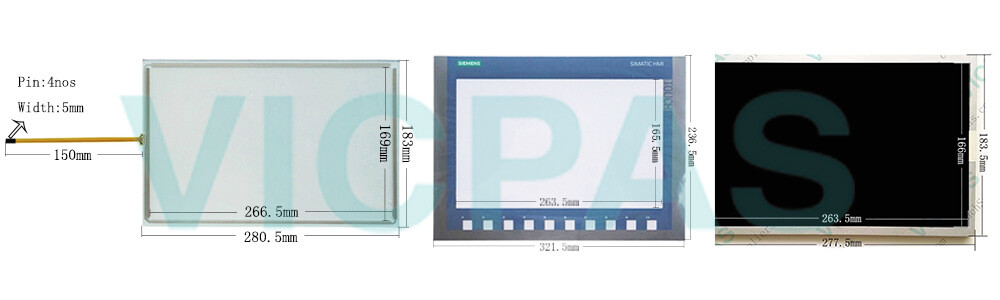 6AG1123-2MB03-2AX0 Siemens SIPLUS HMI KTP1200 Basic Touch Panel Screen Glass, Overlay and LCD Display Repair Replacement