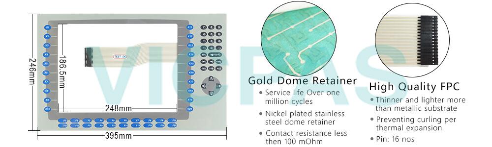 2711P-B12C4D9 Panelview Plus 6 Membrane keypad siwtch  Repair Replacement