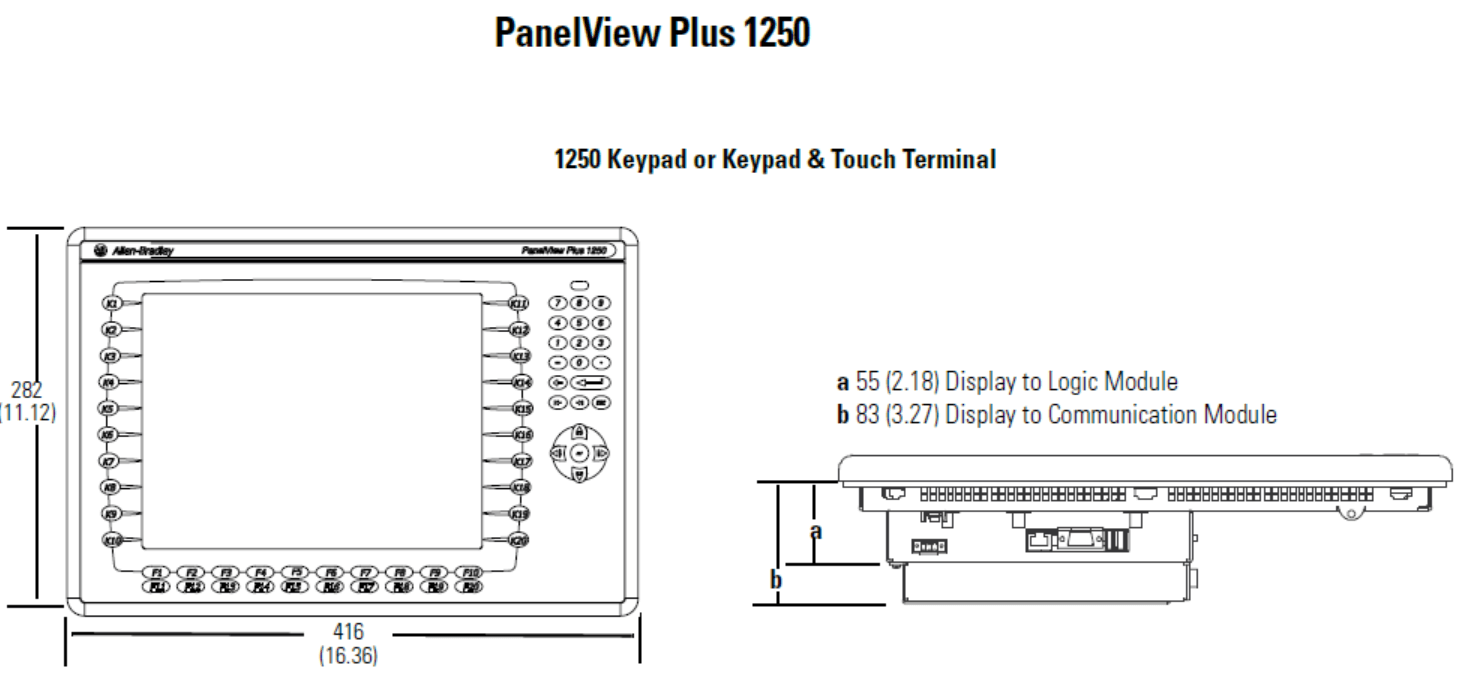 Allen Bradley Panelview plus 6 terminals dimensions