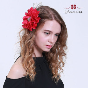 Party flower hair clip artificial big red  sunflower hair clip with mesh